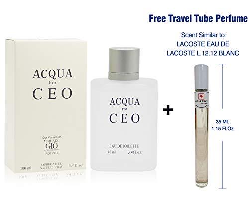 AQUA H20, Our Impression of ACQUA DI GIO, 3.4 Fl Oz Eau de Toilette Spray for Men, Perfect Gift, Mediterranean Freshness, Daytime & Casual Use, for all Skin Types, a Classic Bottle (Acqua Gio Mandarin Toilette Di De Eau)