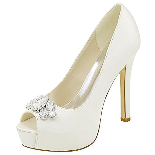 Loslandifen Womens Peep Toe Sexy Stiletto High Heels Wedding Pumps Bridal Court Shoes(3028-01Bchouduan36,Ivory Satin)