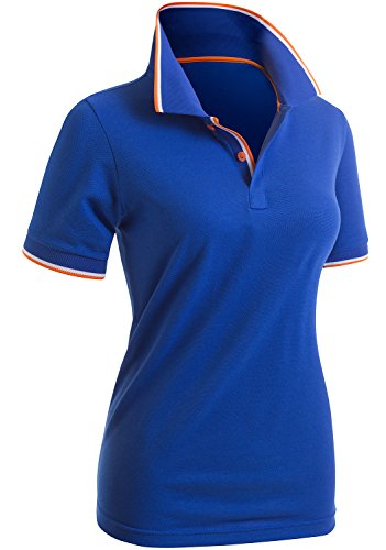 CLOVERY Women's Two Tone Collar Short Sleeve Basic Polo Shirts COBALT US M / Tag (Two Tone Collar)