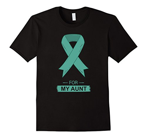 Mens Teal Ribbon Support Aunt Ovarian Cancer Awareness T-Shirt XL Black