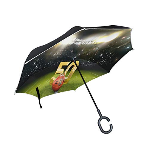 Inverted Umbrella Marvellous Super Bowl Background Double Layer Reverse Umbrella for Car and Outdoor Use by, Windproof UV Protection Big Straight Umbrella with C-Shaped ()