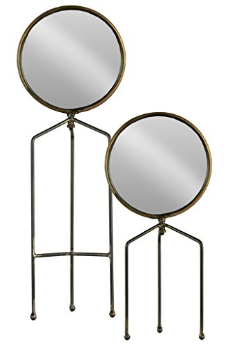 Finish Gunmetal Accents - Urban Trends 38819 Round Tabletop Mirror with Tripod Legs Metallic Finish Gunmetal (Set of 2), Gray 2 Piece