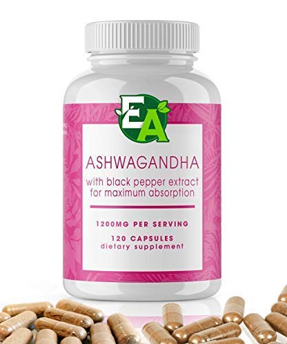 Ashwagandha Powder Capsules with Black Pepper Fruits Extract - Dietary Supplements That Support Anti Anxiety Relief, Thyroid Support, and Adrenal Support (Withania somnifera) - 120 Capsules, 1200mg (Best Testosterone Booster Canada)