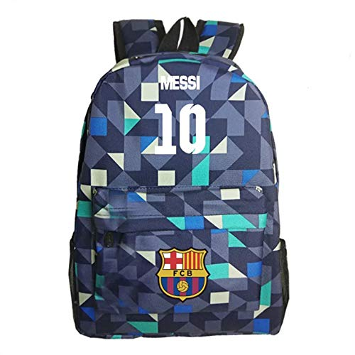 8ec5b122c8ed Messi Fans Backpack Barcelona backpacks for Outdoor Grid Blue