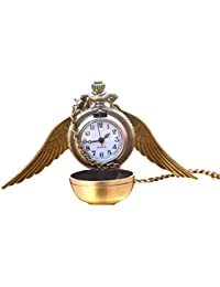 Flying Ball Necklace Vintage Retro Angel Wing Necklace Steampunk Pocket Watch (with Gift Box)
