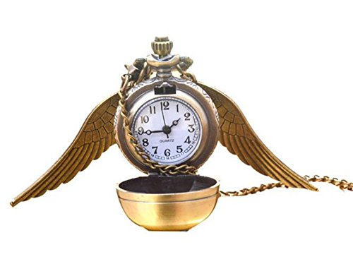 Vintage Retro Angel Wing Necklace Steampunk Pocket Watch (with Gift Box) ()