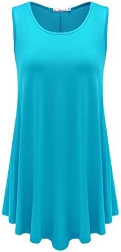 JollieLovin Women's Plus Size Sleeveless Solid Basic Comfy Summer Tunic Tank Top with Flare Hem
