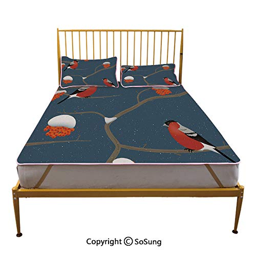 Rowan Creative Queen Size Summer Cool Mat,Winter Pattern with Snowy Tree Branches Orange Berries and Bullfinch Birds Decorative Sleeping & Play Cool Mat,Dark Blue Orange -