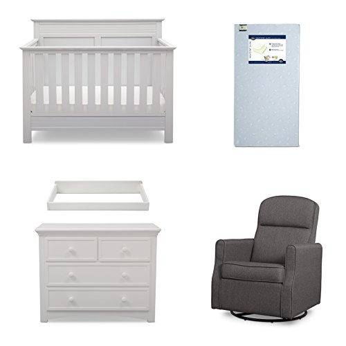Serta Fall River 5-Piece Nursery Furniture Set (Serta Convertible Crib, 4-Drawer Dresser, Changing Top, Serta Crib Mattress, Glider)