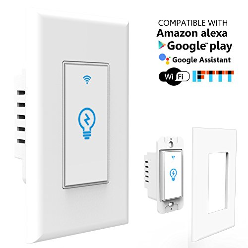Joso Smart Light Switch, Wi-Fi Remote Timing Control with Smartphone In-Wall Light Switch compatible with Amazon Alexa and Google Assistant,No Hub Required