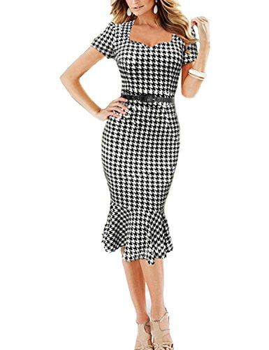vkstar® Mujer classly 50s 60s Vintage de flores formal vaina de lunares Rockabilly lápices Malla de Bodycon falda vestidos de cóctel En Blanco Y Negro