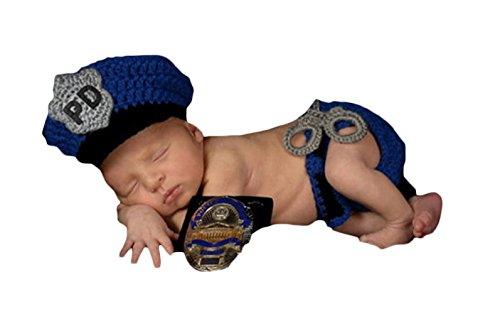 [Little Kiddo Newborn Baby Crochet Costume Photography Props Police Style Knitting Hat Bow Infant Photo Props] (Cute Police Costumes)