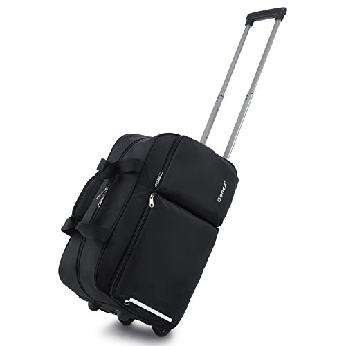 Rolling Duffel Bag, Water Repellent Wheeled Duffel Carry On Luggage 20inch Black ()