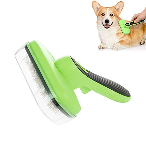 Nollary Pet Brush for Shedding Grooming Undercoat Massage Self Cleaning Slicker Brush for Long Short Haired Dogs Cats Bunny Rabbits Lambs