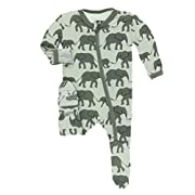 Kickee Pants Little Boys Print Footie with Zipper - Aloe Elephants, 3-6 Months
