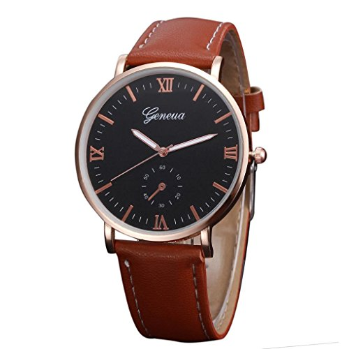 Strap Automatic Watch - Men's Leather Strap Watch Men's Automatic Watch with Link Bracelet Mens Retro Design Leather Band Analog Alloy Quartz Wrist Watch Susenstone (Brown)