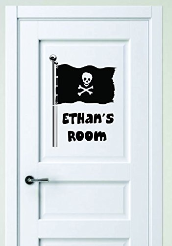 Personalized Name Vinyl Decal Sticker Custom Initial Wall Art Personalization Decor Pirate Skull Bones Boy Baby Nursery Room Flag Children Bedroom 10 Inches X 14 Inches