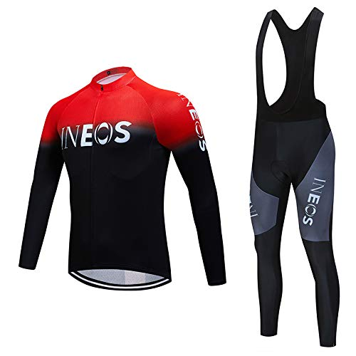 Cycling Jerseys Set with Long Bicycle Bib Tights & Long Sleeve MTB Bike Shirts/Top, Biking Clothing Suits for Men Autumn…
