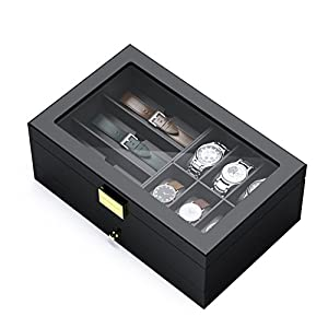 Watch Box Organizer for Men, CRITIRON Wooden Watch Cabinet with Drawer Double Layer Display 6 Watches, Jewelry Storage Case for Women