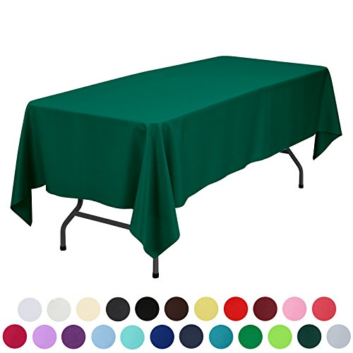 VEEYOO 70 x 120 inch Rectangular Solid Polyester Tablecloth for Wedding Restaurant Party, Hunter Green