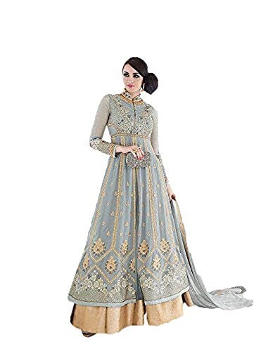 Pakistani Clothes - Readymade New Designer Bollywood Indian/Pakistani Anarkali Suit VF (Small, Honeydew)
