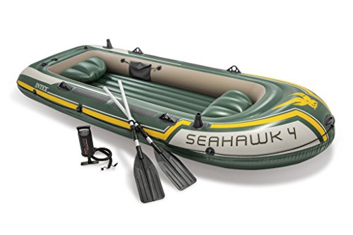 Price comparison product image Intex Seahawk 4,  4-Person Inflatable Boat Set with Aluminum Oars and High Output Air Pump (Latest Model)