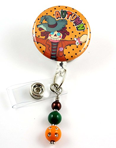 Fall Scarecrow Autumn- Nurse Badge Reel- Retractable ID Badge Holder - Nurse Badge - Badge Clip - Badge Reels - Pediatric - RN - Name Badge Holder