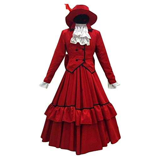 Anime Black Butler Ciel Phantomhive Angelina Red Dress Red Lady Cosplay Costume (S)
