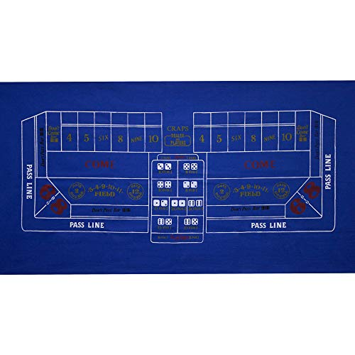 GSE Games & Sports Expert 36x72-Inch Blackjack/Craps/Roulette/Texas Holdem/Baccarat Casino Table Top Felt Layout Mat (Blue Craps)