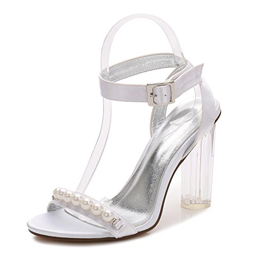 L@YC Women F2615-12 Wedding Bridesmaid Wearing High Heels Crystal Rough With Open Toe Party Ball White
