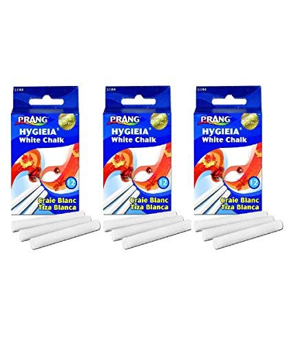 (Prang - Hygieia Chalk, 3.25 x 0.375 Inch Chalk Sticks, 12x, White (31144)(3Pack))