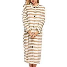 Ekouaer Women's Flannel Bathrobe Button Front Long Robe Loungewear Sleepwear S-XXL