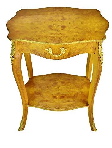 Louis XV Style Brass Ornate Burl Maple Side Table ()