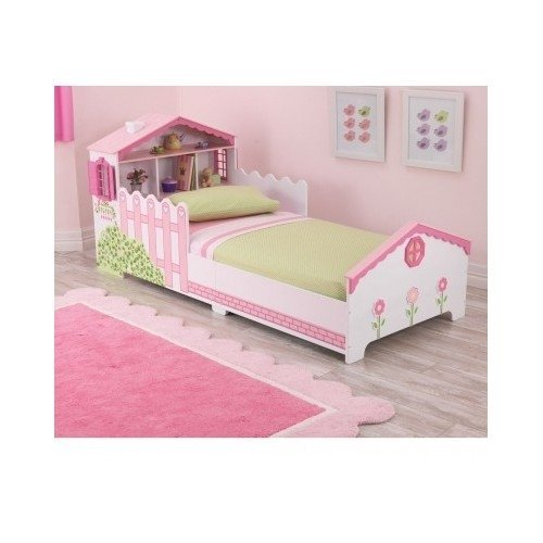 Girls Kids Toddler Pink Dollhouse Bed with Storage Shelves - Toddler Daybed Bedding