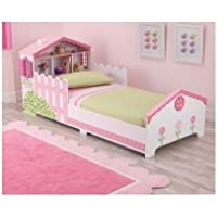 Girls Kids Toddler Pink Dollhouse Bed with Storage Shelves
