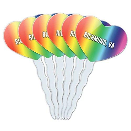 Party Supplies Richmond Va (Rainbow Heart Love Set of 6 Cupcake Picks Toppers Decoration City State Oa-Ro - Richmond VA)