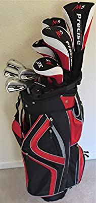 Senior Golf Club Set Complete - Driver, 2 Fairway Woods, 2 Hybrids, Irons, Sand Wedge, Putter & Cart Bag All Graphite - Mens RH Max Distance