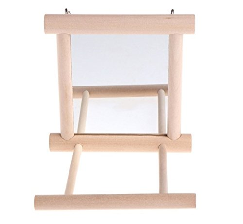 Nodykka Bird Mirror Bird Swings Wood Perches Cage Play Toys Stands for Macaws Parrots Parakeet Cockatiels Cockatoo Conures Canaries Lovebirds African Greys budgies Pet ()