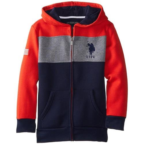 U.S. Polo Assn. Big Boys' Fleece Color Block Jacket with Hood, Egg Yoke, 14/16 (Yoke Block)