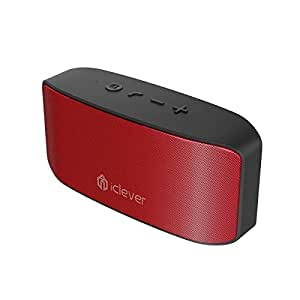 iClever BoostSound Portable Bluetooth Speakers with Microphone, Rich Bass, 3.5mm Aux Port, Dual Drivers and 10 Hours Playtime, Red