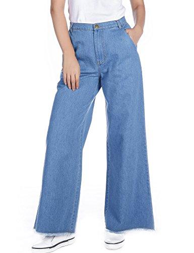 Amee Hanke Women's Culottes Jeans Wide-Leg Denim Trouser Tassel Hem Light Blue (XXL) (Leg Trouser Jeans)