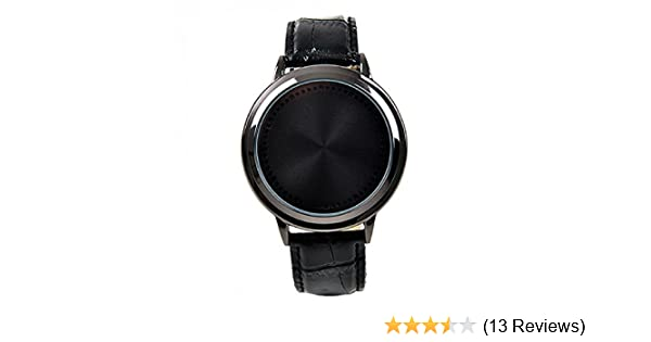 Amazon.com: Fashion Contracted Waterproof Leather Band Touch Screen LED Smart Watch Lovers Black: Watches