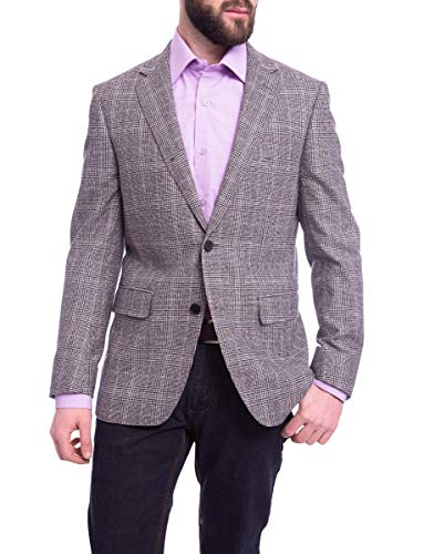 Napoli Slim Fit Black & Tan Plaid Half Canvassed Wool Cashmere Blazer -