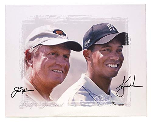 (Tiger Woods Jack Nicklaus Dual Signed 20x24 Stretched Canvas LE 93/250 - Upper Deck Certified - Autographed Golf Art)