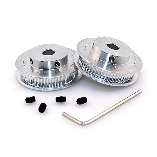 BIQU GT2 Synchronous Wheel 60 Teeth 8mm Bore Aluminum Timing Pulley for 3D Printer 6mm Width Belt (Pack of 2pcs)