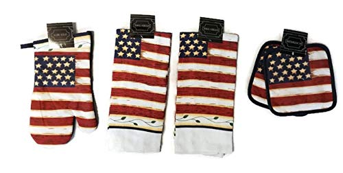 HomeConcept Heritage American Stars and Stripes Flag Kittchen Set 5 Piece - 2 Potholders, 1 Oven Mitt & 2 Towels