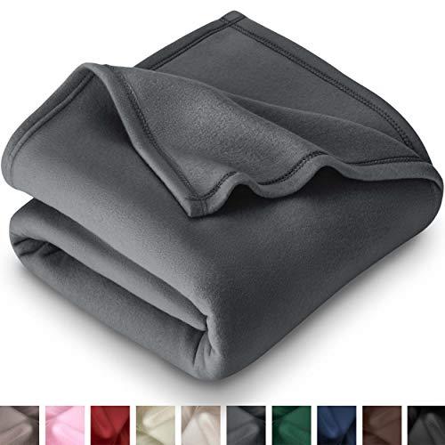 Bare Home Polar Fleece Cozy Bed Blanket - Hypoallergenic Premium Poly-Fiber Yarns, Thermal, Lightweight Throw Blanket (Throw (50x60), Grey)