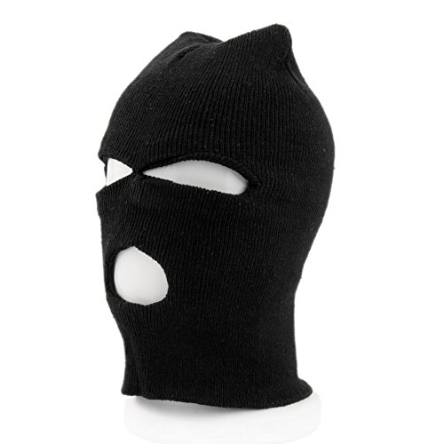 Sport Outdoor Black Ski Mask Three Hole snowboard Face Cover Balaclava Beanie Cap Face & Neck Warmer Neckwear Headwear Winter Bike Cycling Bicycle Riding Knit Mask