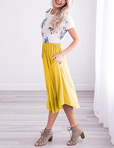 Midi Short Pockets Swing Women Sleeve Yellow Dress Tunic Casual SVALIY Floral Summer with PBt8xwtq4