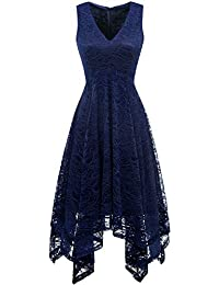 c44b0fdf06258b Women's Elegant V-Neck Sleeveless Asymmetrical Handkerchief Hem Floral Lace Cocktail  Party Dress
